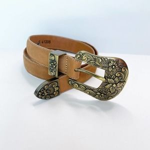 BRIGHTON Tan Brown Leather Belt Chunky Gold Small